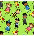 Cartoon seamless pattern with children in differen vector