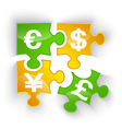 Puzzle currency pieces vector