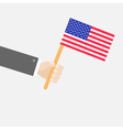 Businessman hand holding american flag isolated vector