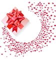 Box with red bow and confetti hearts on white vector