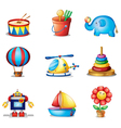 Nine different kinds of toys vector
