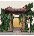 Cartoon entrance with a roof with a signboard vector