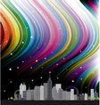 City with rainbow vector