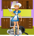 Yong mistress on the violet kitchen vector