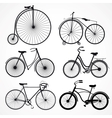 Set of bicycles on a white background vector