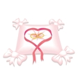 Pillow with wedding rings and red heart ribbon vector