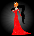 Lady in red dress vector