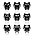 Owl cartoon character icons set vector