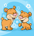Cute bear on abstract background vector