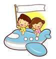 Boys and girls traveling on a plane childrens vector