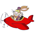 Easter rabbit flying with plane vector