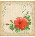 Vintage flower dragonfly retro card border frame vector