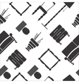 Seamless pattern with flat furniture icons vector