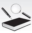 Fountain pen book and magnifying glass vector