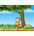 A monkey with bananas near a tree with vine plants vector