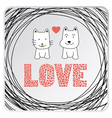 Love cat and dog card3 vector