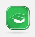 Graduate hat color square icon vector