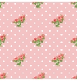 Seamless pattern with roses and polka dots vector
