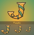 Halloween decorative alphabet - j letter vector