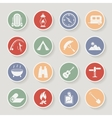 Round camping icons set icons vector