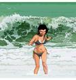 Cartoon happy girl runs out of the sea vector