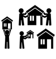 Icons building of house with figures of people vector