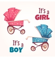 Set of flat baby girl and boy carriage vector