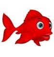 Cute red fish cartoon vector