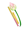 Pink lotus with joss sticks and candle vector