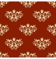 Yellow floral seamless pattern with red background vector