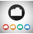 Camera icon on round background with long shadow vector