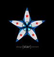 Flying metal rocket with red stars vector