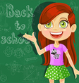 Banner back to school with cute little girl vector