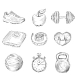 Fitness sketch icons vector