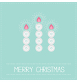 Three merry christmas candles button applique vector