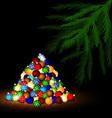 Christmas ball and branch of tree vector