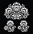 Polish floral folk white embroidery pattern vector