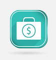 Suitcase with money color square icon vector