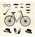 Set of the hipster with bicycle vector