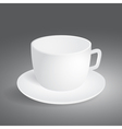 Empty cup on gray background vector