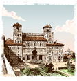 Vintage hand drawn view of villa borghese in rome vector