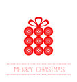 Gift box made from red buttons christmas vector