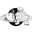 Santa claus on the planet vector