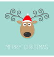 Cute cartoon deer with curly horns and red hat vector