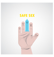 Condom safe sex and hand sign vector