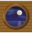 Night sea in a ship window vector