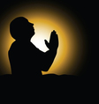 Man praying black silhouette vector