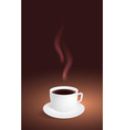 Cup of coffee on brown background vector