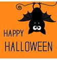 Cute bat happy halloween card vector