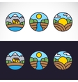 Nature landscape logo template set vector